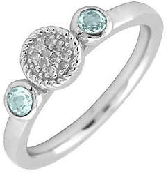 Simply Stacks Sterling & Double Round Aquamarin e Diamond Ring