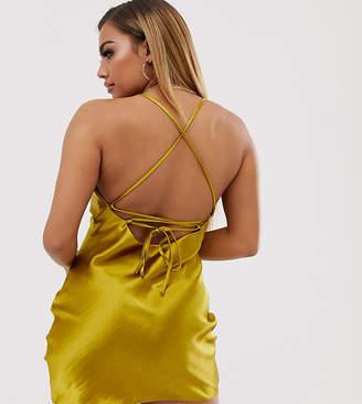 Asos Design DESIGN Petite cami mini slip dress in high shine satin with lace up back