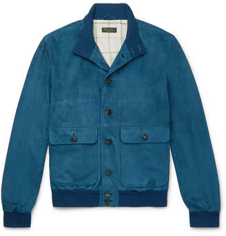 Loro Piana Rain System Suede Bomber Jacket - Men - Blue
