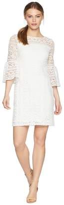 Lauren Ralph Lauren Petite 138A Filigree Striped Obelix 3/4 Sleeve Day Dress Women's Dress