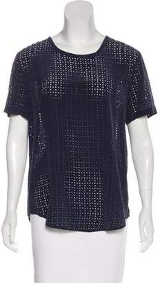 Equipment Silk Perforated Short Sleeve Top