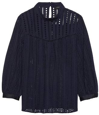 Banana Republic Mock-Neck Eyelet Top
