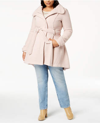 Madden-Girl Juniors' Plus Size Belted Wrap Coat