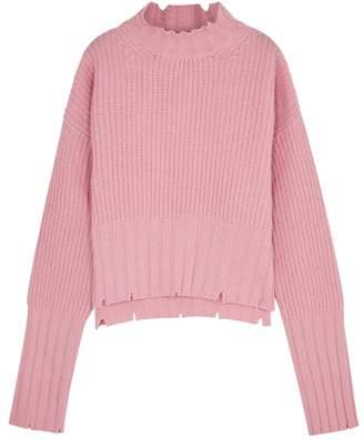 MSGM Pink Distressed Wool-blend Jumper
