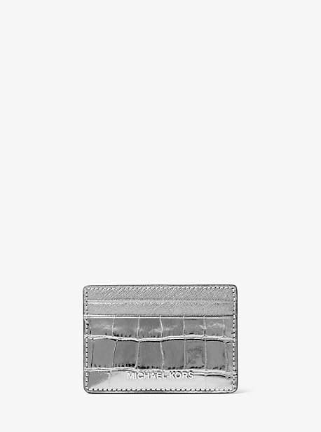 Michael Kors Jet Set Travel Metallic Embossed-Leather Card Case - GUNMETAL - STYLE