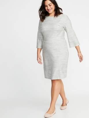 Old Navy Marled-Stripe Textured-Knit Plus-Size Sheath Dress