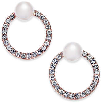 INC International Concepts I.n.c. Rose Gold-Tone Pave & Imitation Pearl Front-Back Earrings, Created for Macy's