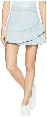 1 STATE 1.STATE Ruffle Edge Denim Mini Skirt Women's Skirt