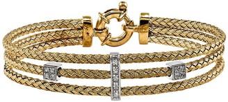 "Sterling Silver Crystal Woven 6-3/4"" Bracelet"