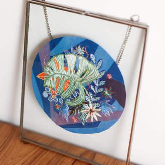 Lucy Freeman Design Blue Tropical Monstera Leaf Framed Embroidery Art