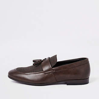 River Island Brown check print tassel loafers