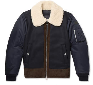 Moncler Plovan Shearling and Suede-Trimmed Wool-Blend and Shell Bomber Jacket