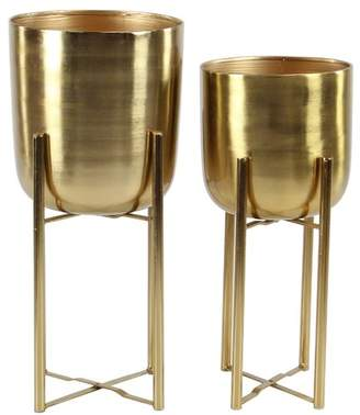 George Oliver Owings Contemporary 2-Piece Metal Pot Planter Set