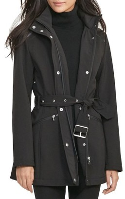 Women's Lauren Ralph Lauren Belted Hooded Soft Shell Jacket $150 thestylecure.com