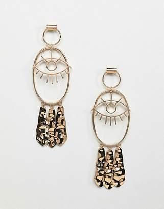 Asos Design DESIGN earrings with eye design and hammered pendants in gold