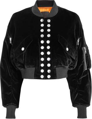 Alexander Wang Velvet Multi Snap Crop Bomber Jacket