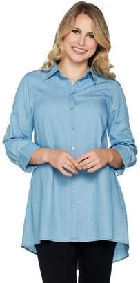 Joan Rivers Classics Collection Joan Rivers Lightweight Denim Swing Style Shirt
