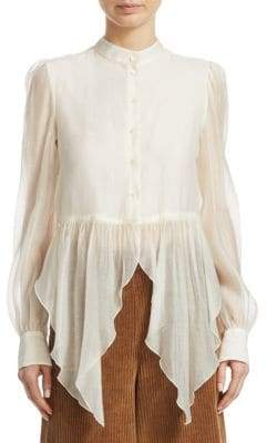 See by Chloe Flowy Button-Front Blouse