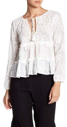 BB Dakota Floral Embroidered Long Sleeve Blouse
