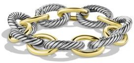 David Yurman Oval Extra-Large Link Bracelet with Gold $1,850 thestylecure.com