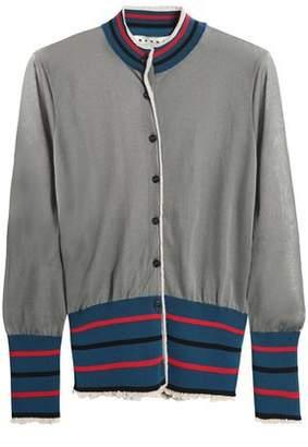 Marni Striped Stretch-Knit Cardigan
