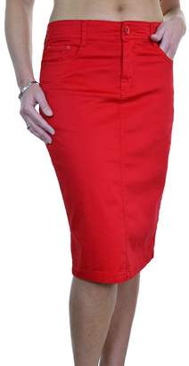 Ice 2516-5) Plus Size Stretch Chino Sheen Jeans Style Skirt