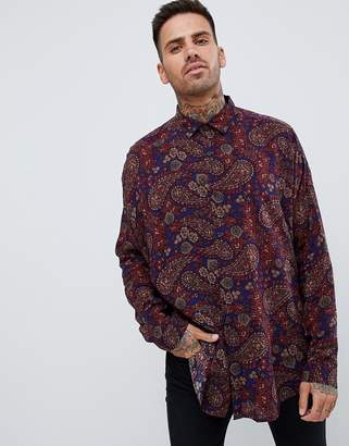 Asos Design DESIGN oversized paisley viscose shirt with dropshoulder in longline