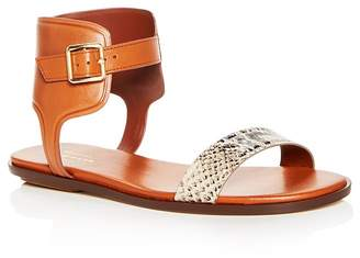 Cole Haan Women's Barra Snake Embossed Leather Ankle Strap Sandals