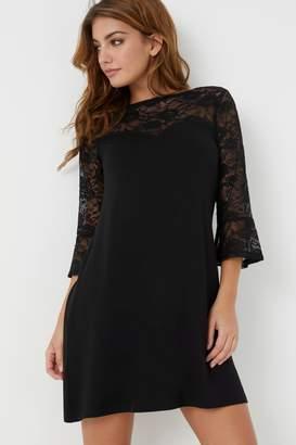 Next Womens Lipsy Lace Sweetheart Long Sleeves Mini Skater Dress