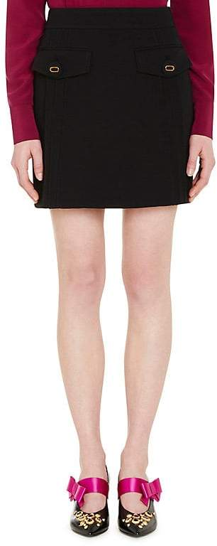 Prada Women's Flap Pocket Wool Miniskirt