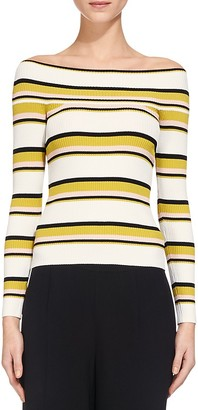 Whistles Rib Knit Striped Bardot Top $180 thestylecure.com