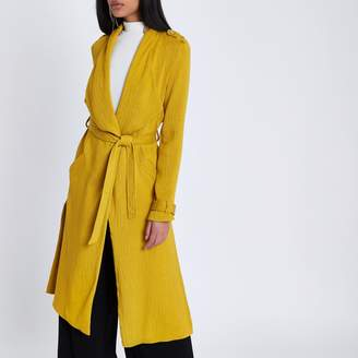 River Island Womens Mustard yellow belted duster trench coat
