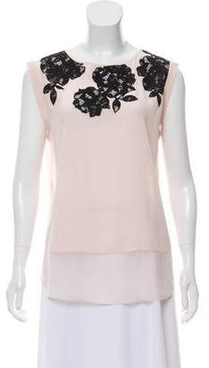 Rebecca Taylor Silk Lace-Accented Top