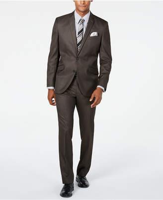Kenneth Cole Unlisted Men Slim-Fit Brown Sharkskin Suit