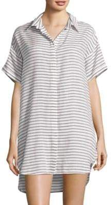 Red Carter Striped Collared Cover-Up Tunic