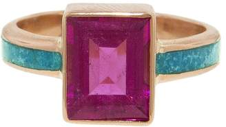 Jacquie Aiche Emerald Cut Pink Tourmaline and Turquoise Ring - Rose Gold