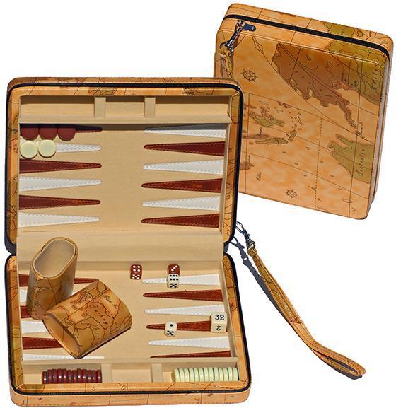 Travel-Size Map-Style Backgammon Set