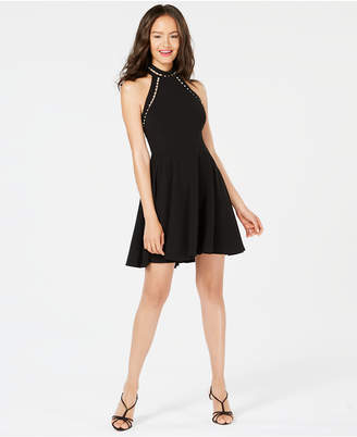 B. Darlin Juniors' Imitation Pearl-Trim Fit & Flare Dress