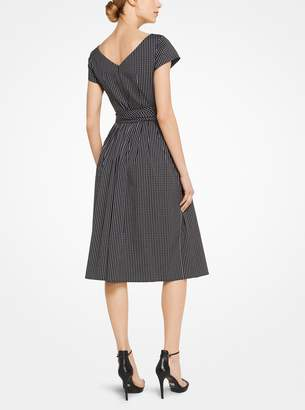 Michael Kors Windowpane Cotton-Poplin Dress