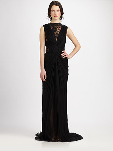 Lace Inset Silk Gown