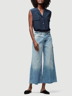 Frame Denim Pocket Sleeveless Silk Shirt Dark Navy
