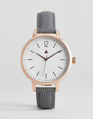 Asos DESIGN leather watch with sub dial detail and faux lizard skin strap in gray