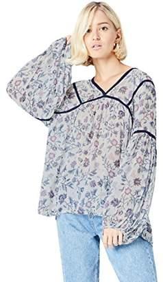 find. Women's Blouse Long Sleeve Floral Print, Multicoloured (Blue), (Manufacturer size: XXX-Large)