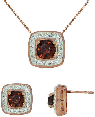 FINE JEWELRY 14K Rose Gold Over Silver Chocolate Crystal Pendant Necklace & Earring Set