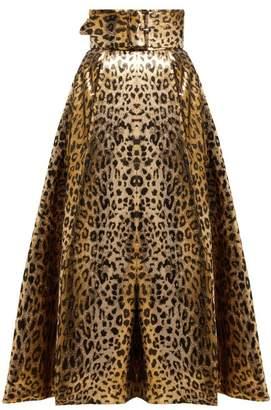 Sara Battaglia Leopard Print Lame Midi Skirt - Womens - Leopard