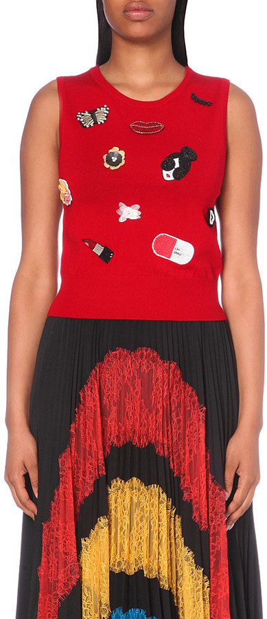 ALICE & OLIVIA Igby embellished knitted top