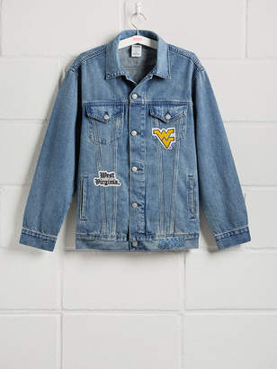 PINK West Virginia University Banded Denim Jacket.