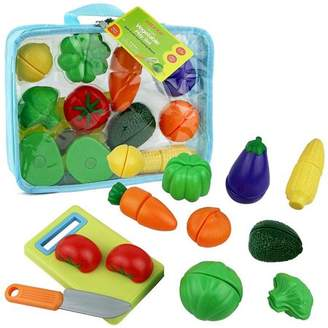 N. Click N' Play Click n' Play 12 pc Kids Pretend Play Cutting Vegetable Toy Set, Food Playset with Cutting Board and Knife - Carrying Case for Safe Storage