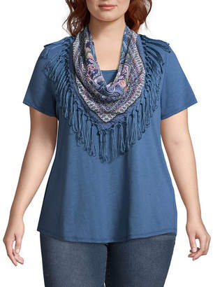 Unity World Wear Short Sleeve Knit Top with Fringe Scarf - Plus