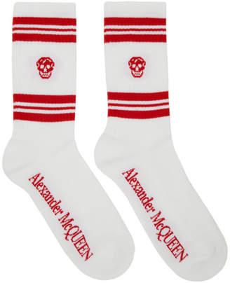 Alexander McQueen White and Red Stripe Skull Sport Socks